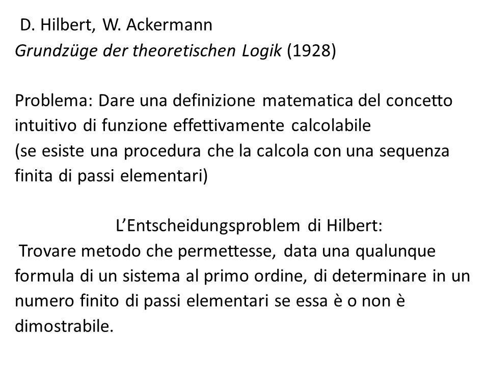 L'Entscheidungsproblem di Hilbert: