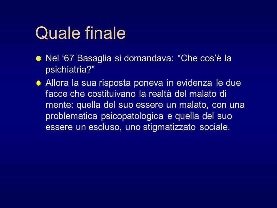 Quale finale Nel '67 Basaglia si domandava: Che cos'è la psichiatria
