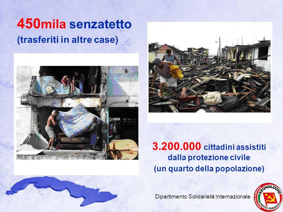 450mila senzatetto (trasferiti in altre case) 3.200.000 cittadini assistiti dalla protezione civile.
