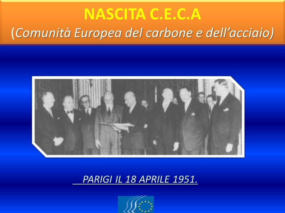 NASCITA C.E.C.A (Comunità Europea del carbone e dell'acciaio)