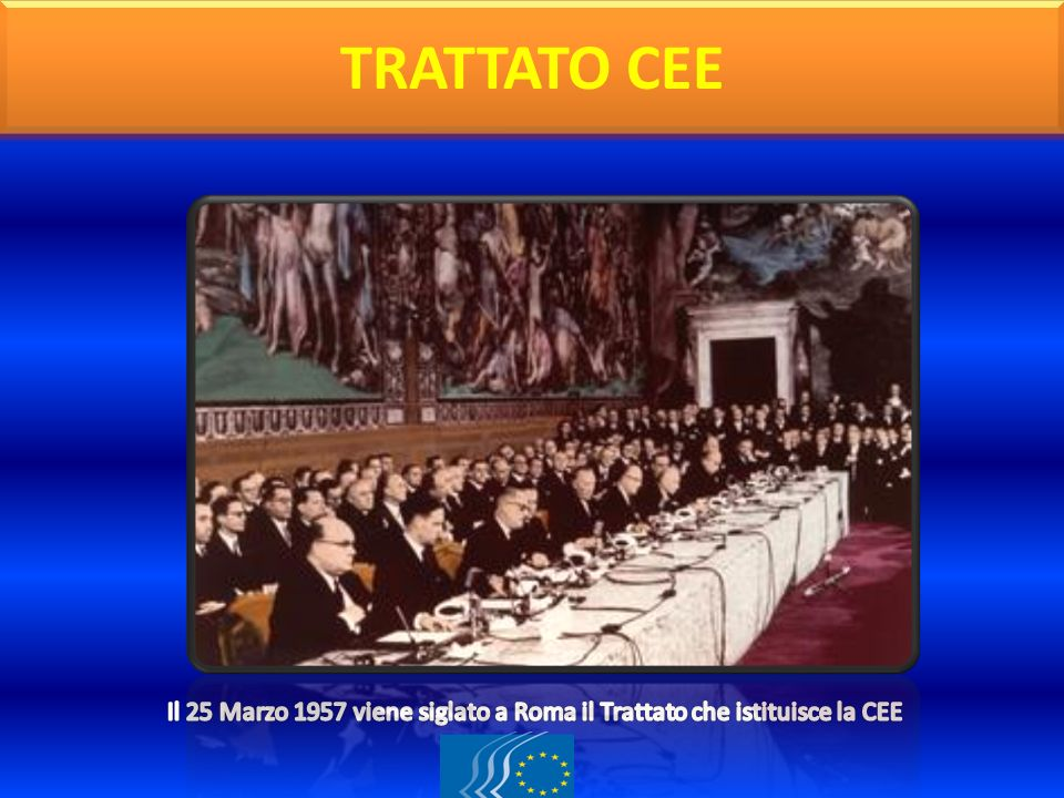 TRATTATO CEE Il 25 Marzo 1957 viene siglato a Roma il Trattato che istituisce la CEE