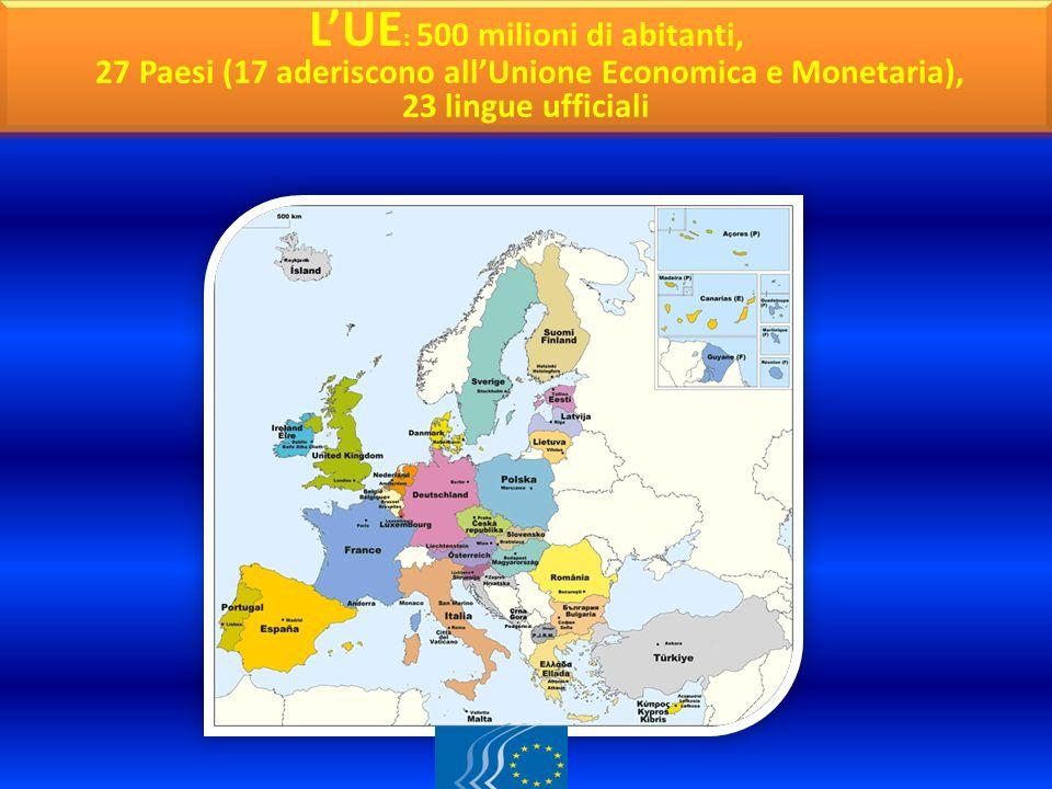 CARTINA GEOGRAFICA L'UE: 500 milioni di abitanti,