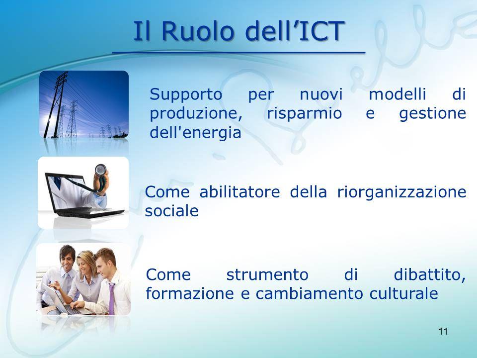 Il Ruolo dell'ICT Supporto per nuovi modelli di produzione, risparmio e gestione dell energia. Come abilitatore della riorganizzazione sociale.