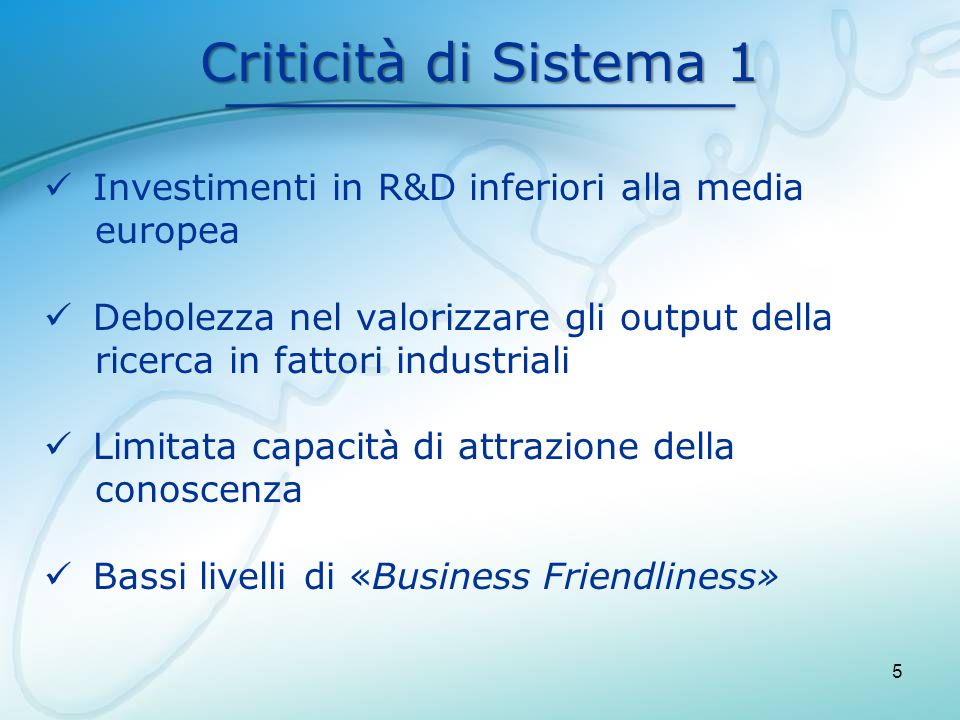 Criticità di Sistema 1 Investimenti in R&D inferiori alla media