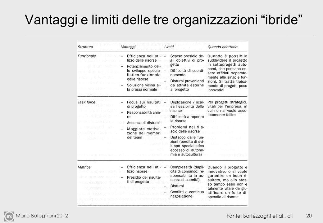 Vantaggi e limiti delle tre organizzazioni ibride