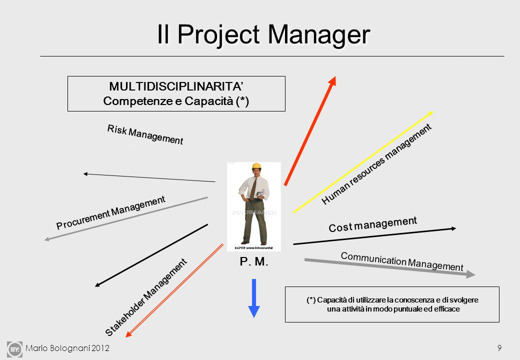 Il Project Manager MULTIDISCIPLINARITA' Competenze e Capacità (*)