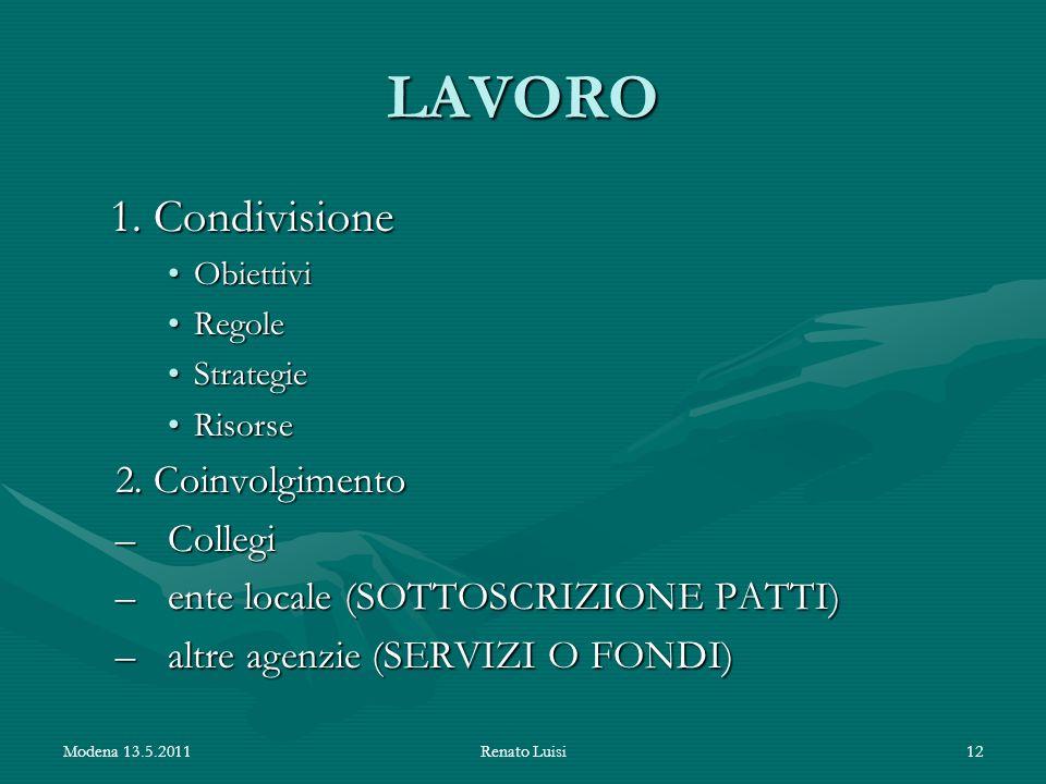 LAVORO 1. Condivisione 2. Coinvolgimento Collegi