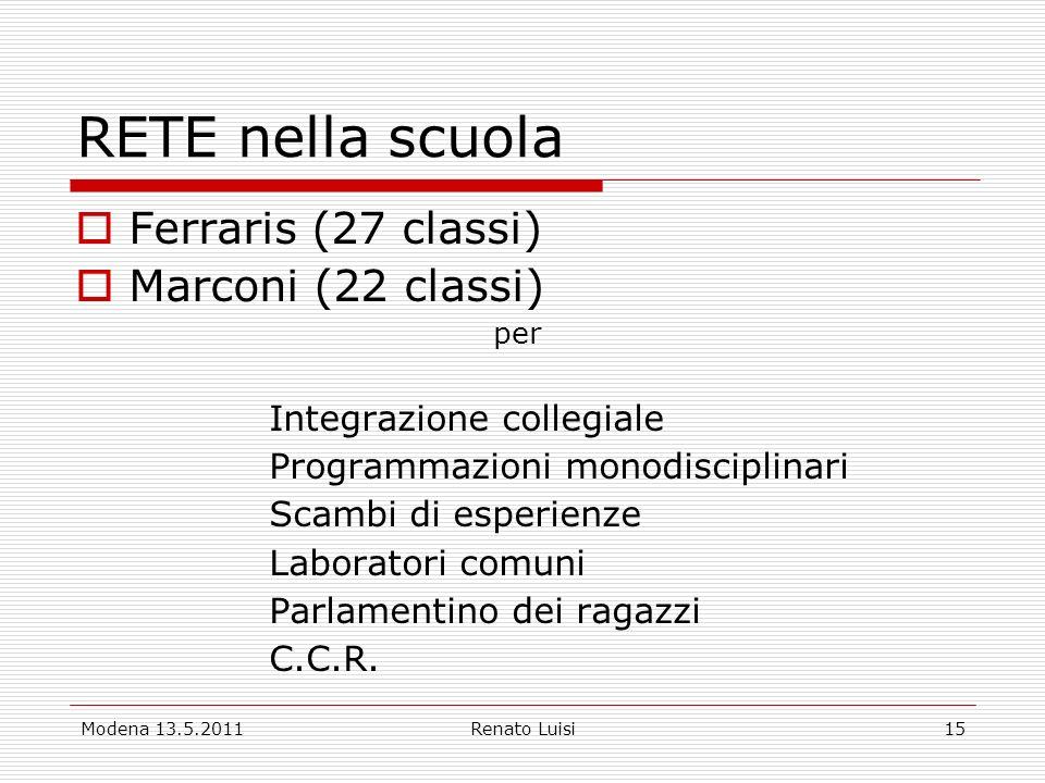 RETE nella scuola Ferraris (27 classi) Marconi (22 classi)