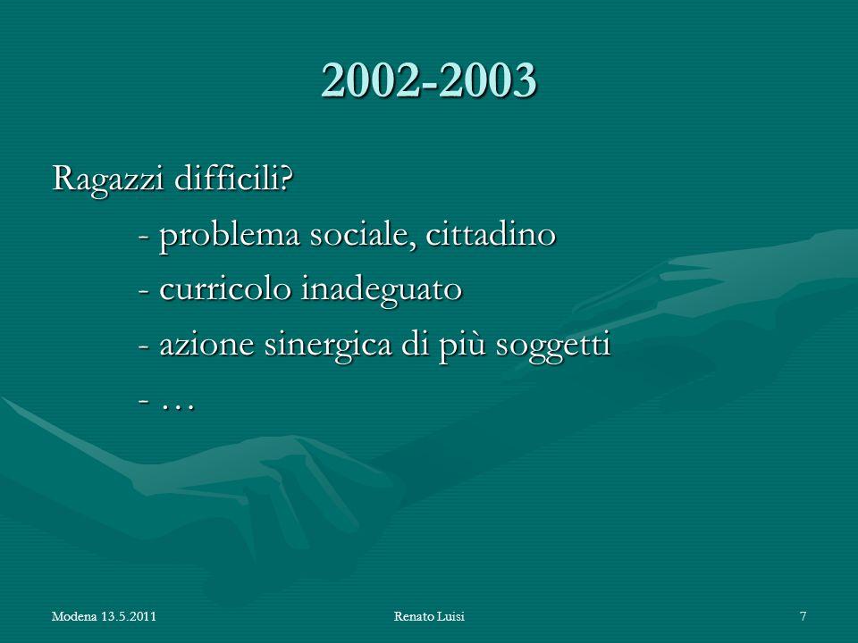 2002-2003 Ragazzi difficili - problema sociale, cittadino - curricolo inadeguato - azione sinergica di più soggetti - …