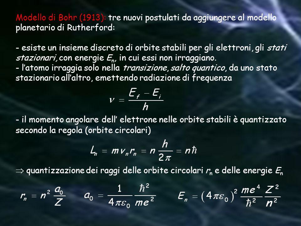 Modello di Bohr (1913): tre nuovi postulati da aggiungere al modello planetario di Rutherford: