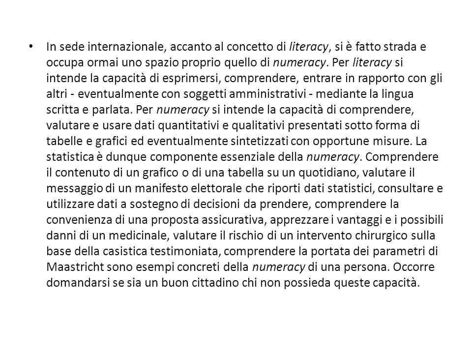 In sede internazionale, accanto al concetto di literacy, si è fatto strada e occupa ormai uno spazio proprio quello di numeracy.