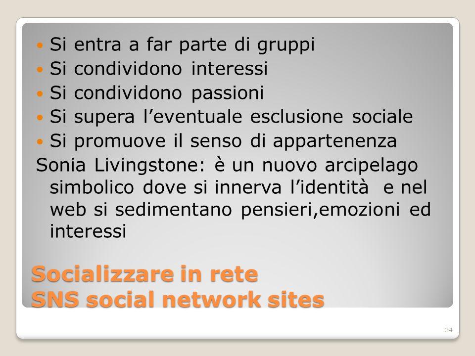 Socializzare in rete SNS social network sites