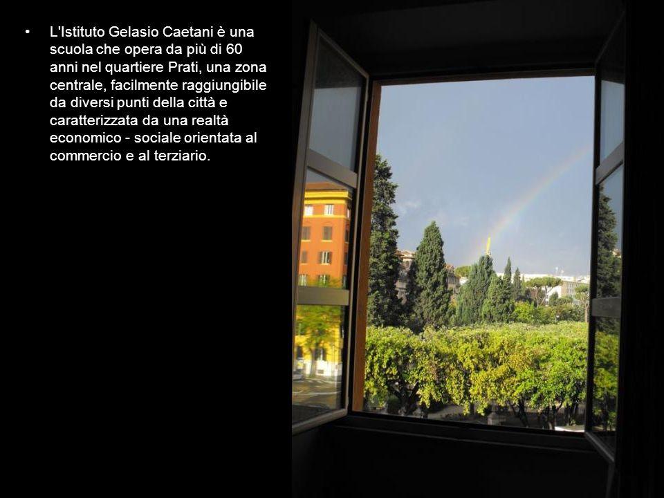 L Istituto Gelasio Caetani è una scuola che opera da più di 60 anni nel quartiere Prati, una zona centrale, facilmente raggiungibile da diversi punti della città e caratterizzata da una realtà economico - sociale orientata al commercio e al terziario.