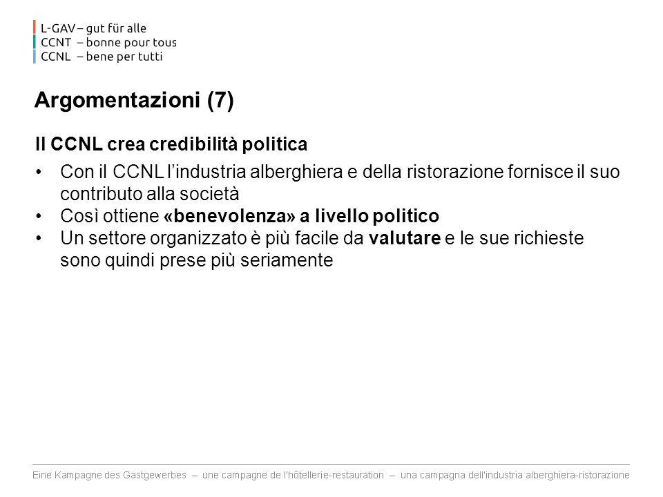 Argomentazioni (7) Il CCNL crea credibilità politica
