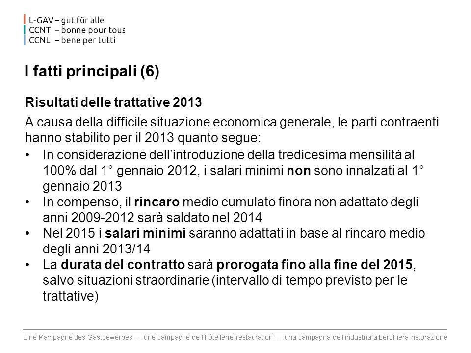 I fatti principali (6) Risultati delle trattative 2013