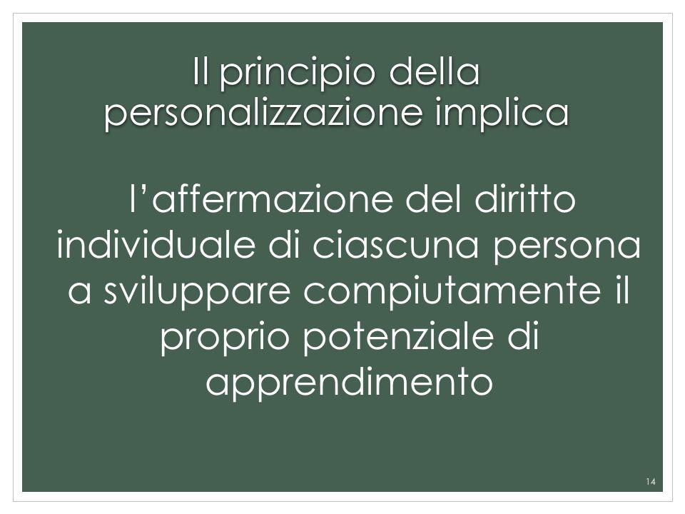 Il principio della personalizzazione implica