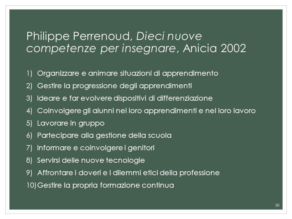 Philippe Perrenoud, Dieci nuove competenze per insegnare, Anicia 2002
