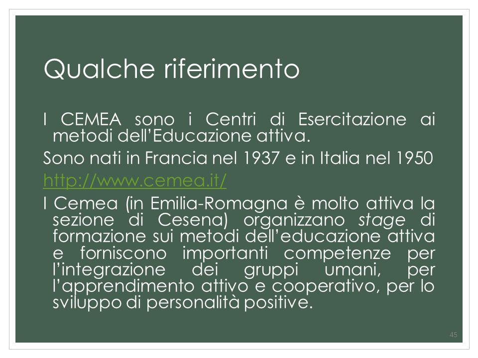 Qualche riferimento I CEMEA sono i Centri di Esercitazione ai metodi dell'Educazione attiva. Sono nati in Francia nel 1937 e in Italia nel 1950.