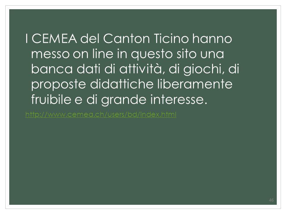 I CEMEA del Canton Ticino hanno messo on line in questo sito una banca dati di attività, di giochi, di proposte didattiche liberamente fruibile e di grande interesse.
