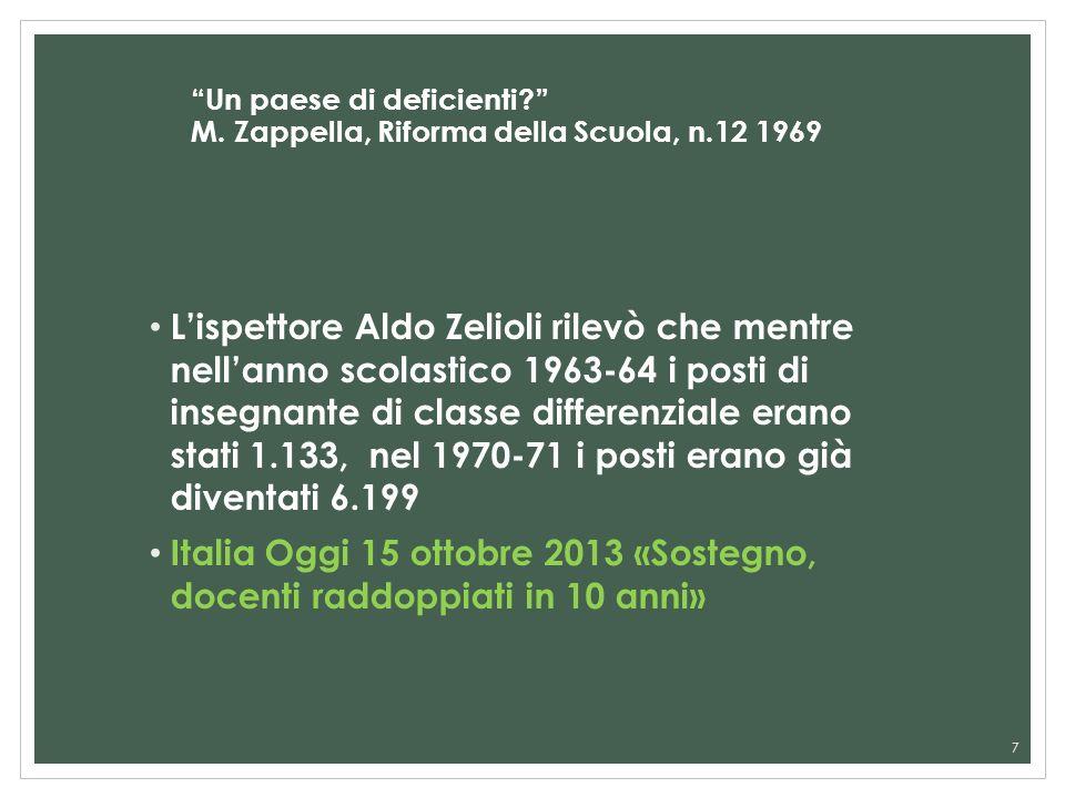 Un paese di deficienti M. Zappella, Riforma della Scuola, n.12 1969