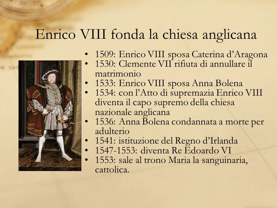 Enrico VIII fonda la chiesa anglicana