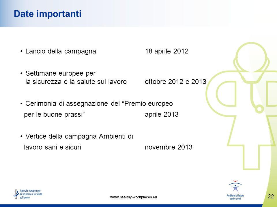 Date importanti Lancio della campagna 18 aprile 2012