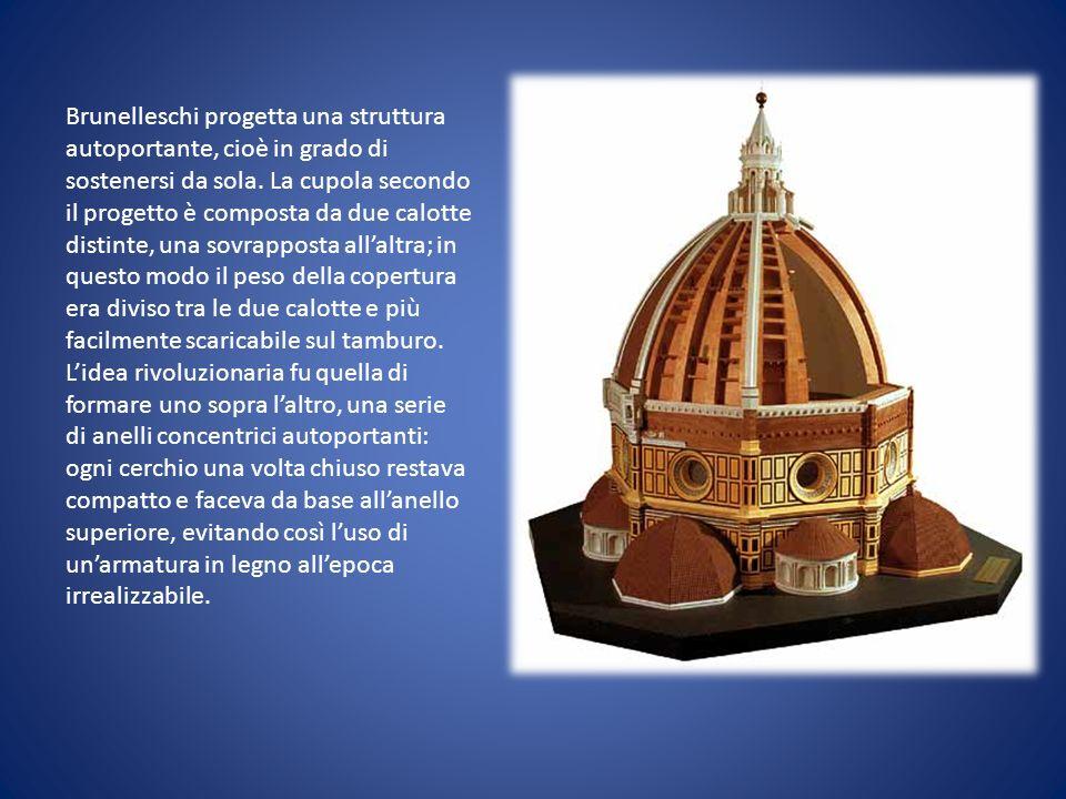 Brunelleschi progetta una struttura autoportante, cioè in grado di sostenersi da sola.