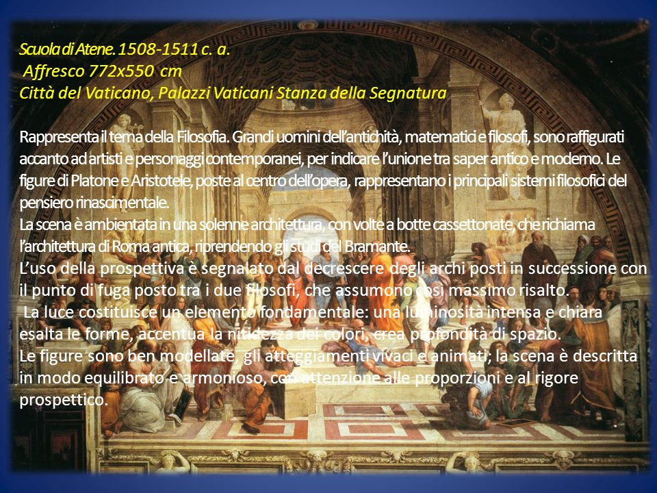 Scuola di Atene. 1508-1511 c. a. Affresco 772x550 cm. Città del Vaticano, Palazzi Vaticani Stanza della Segnatura.