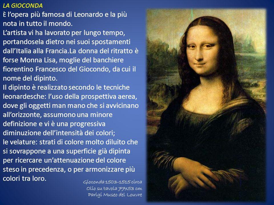 LA GIOCONDA È l'opera più famosa di Leonardo e la più nota in tutto il mondo.