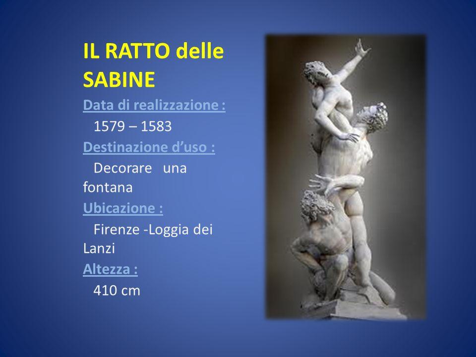 IL RATTO delle SABINE Data di realizzazione : 1579 – 1583
