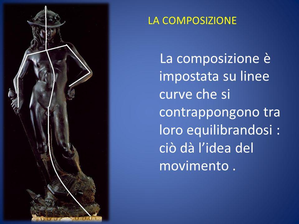 LA COMPOSIZIONE La composizione è impostata su linee curve che si contrappongono tra loro equilibrandosi : ciò dà l'idea del movimento .