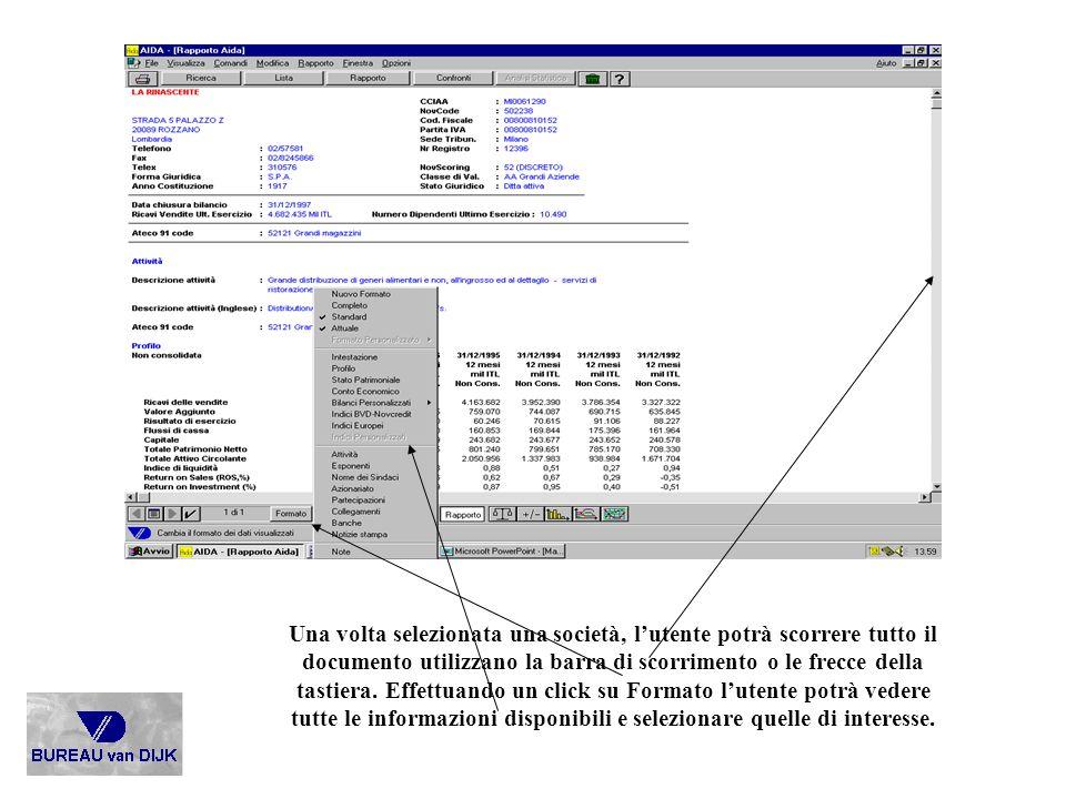 Una volta selezionata una società, l'utente potrà scorrere tutto il documento utilizzano la barra di scorrimento o le frecce della tastiera.