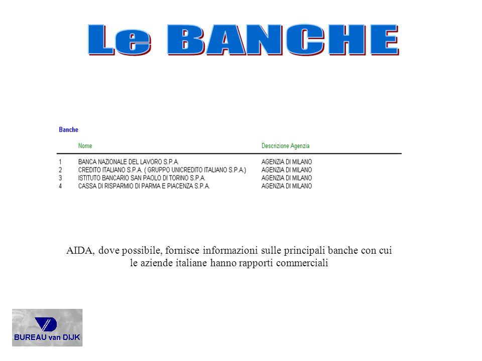 Le BANCHE AIDA, dove possibile, fornisce informazioni sulle principali banche con cui le aziende italiane hanno rapporti commerciali.