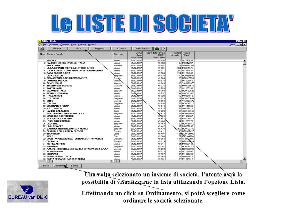 Le LISTE DI SOCIETA Una volta selezionato un insieme di società, l'utente avrà la possibilità di visualizzarne la lista utilizzando l'opzione Lista.