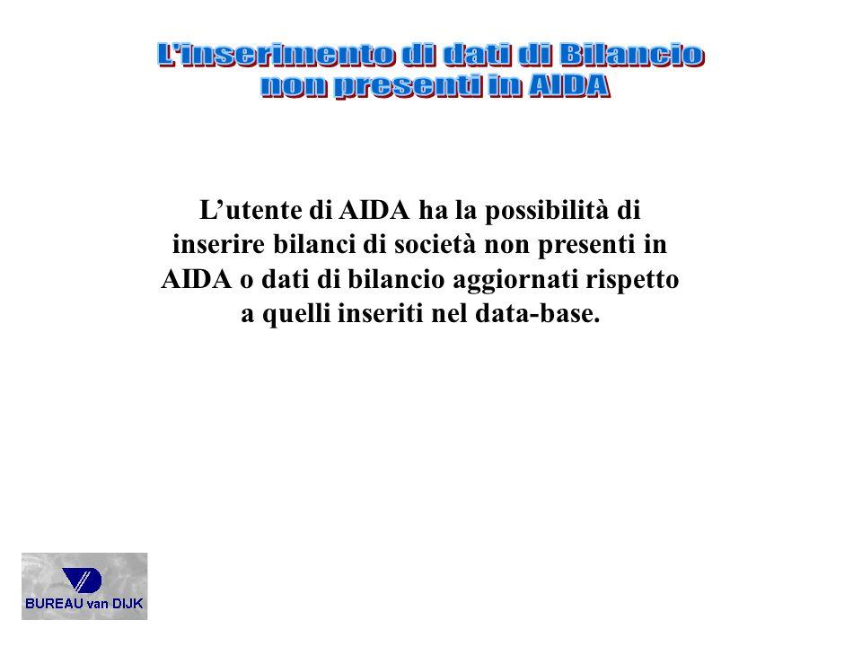 L inserimento di dati di Bilancio