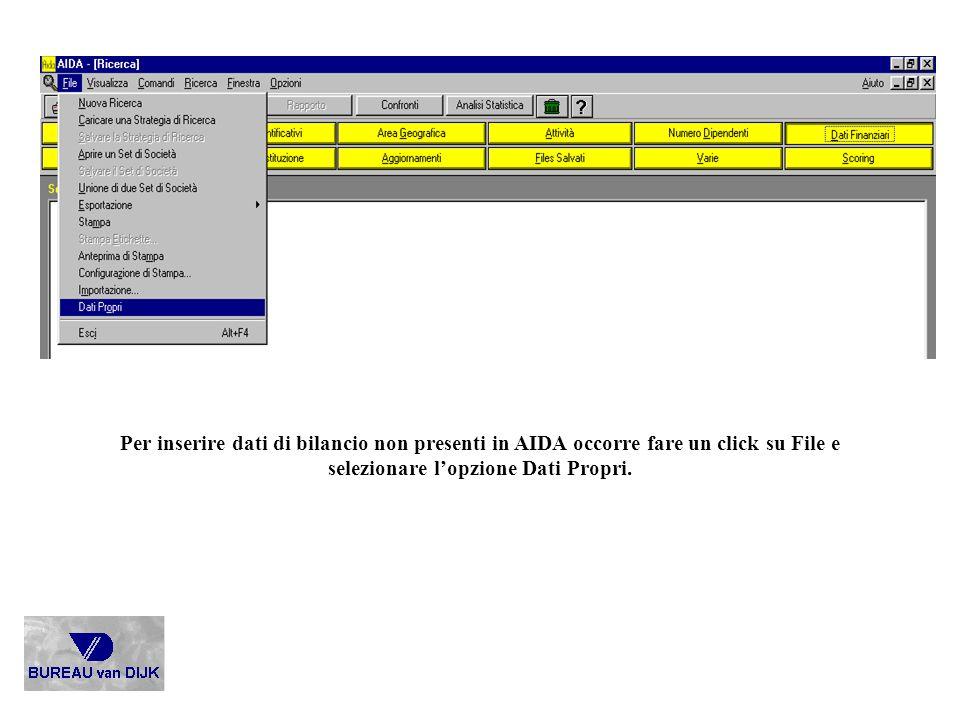Per inserire dati di bilancio non presenti in AIDA occorre fare un click su File e selezionare l'opzione Dati Propri.