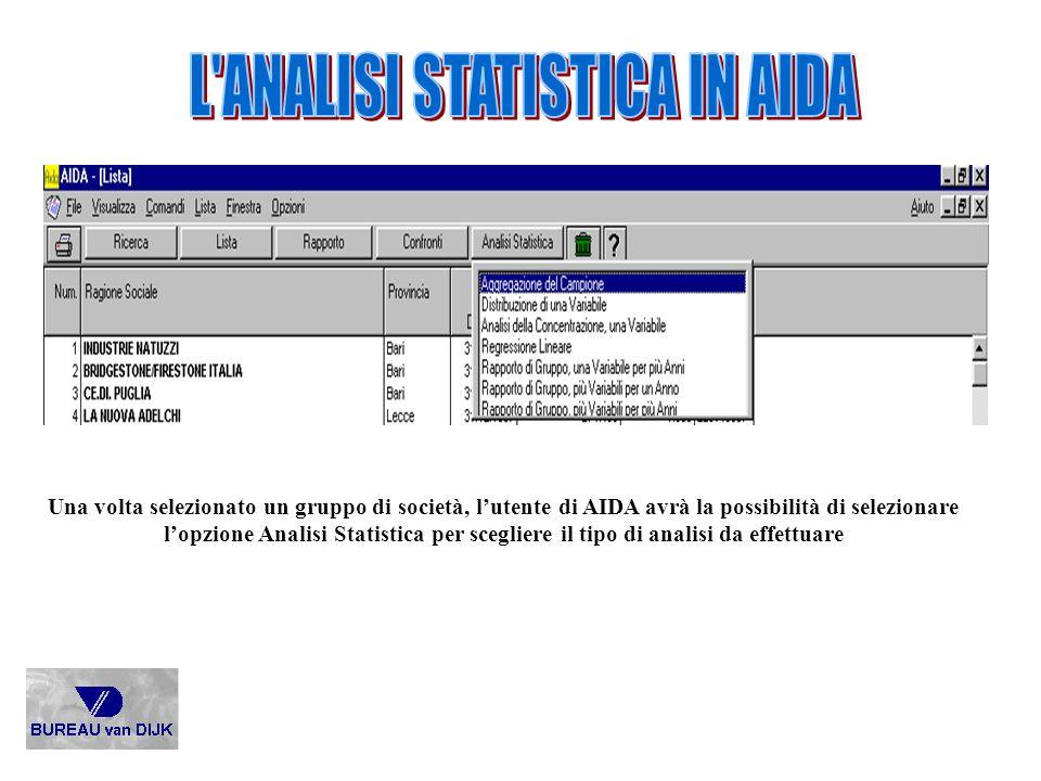 L ANALISI STATISTICA IN AIDA
