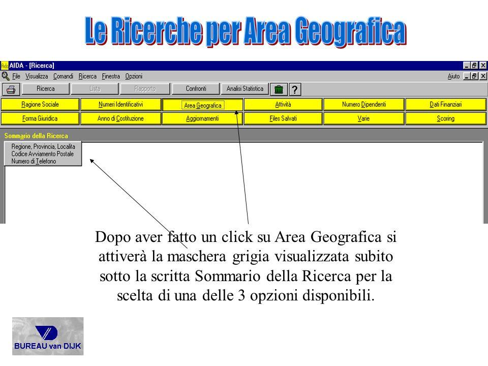 Le Ricerche per Area Geografica