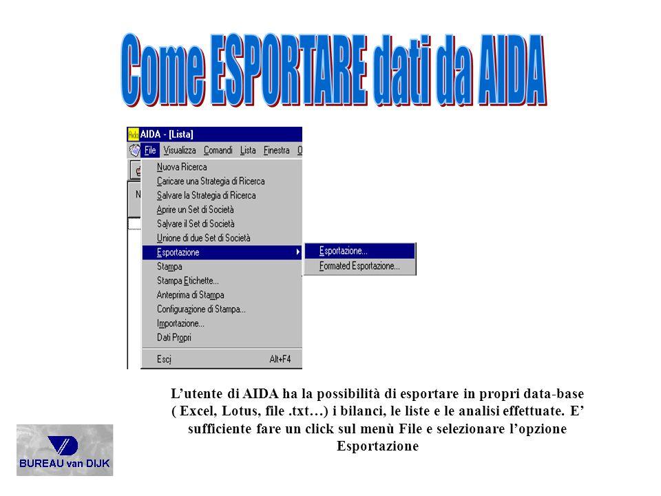 Come ESPORTARE dati da AIDA