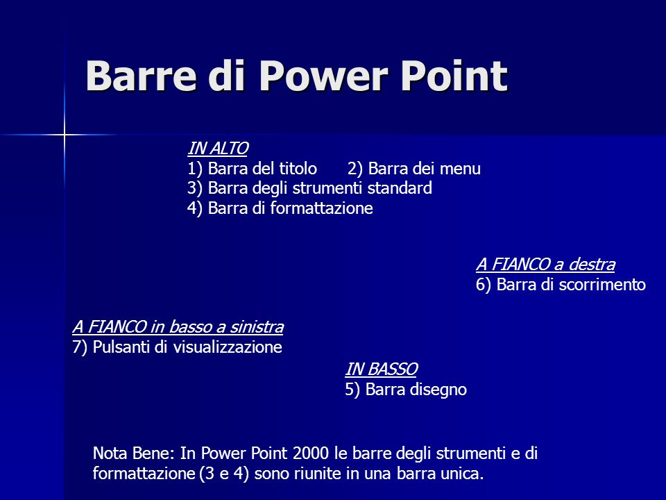 Barre di Power Point IN ALTO 1) Barra del titolo 2) Barra dei menu