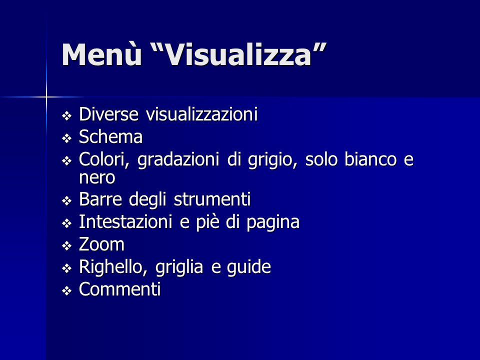 Menù Visualizza Diverse visualizzazioni Schema