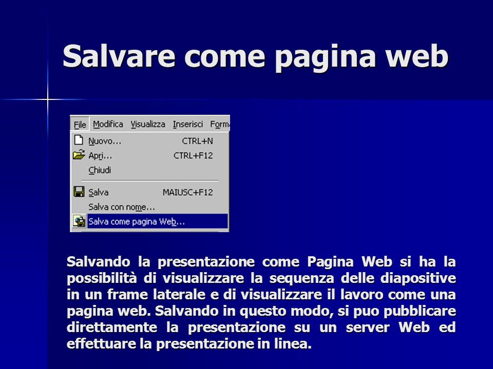 Salvare come pagina web