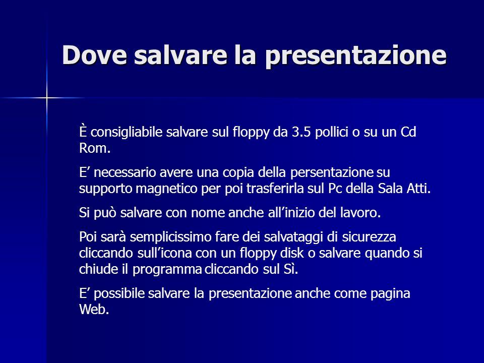 Dove salvare la presentazione
