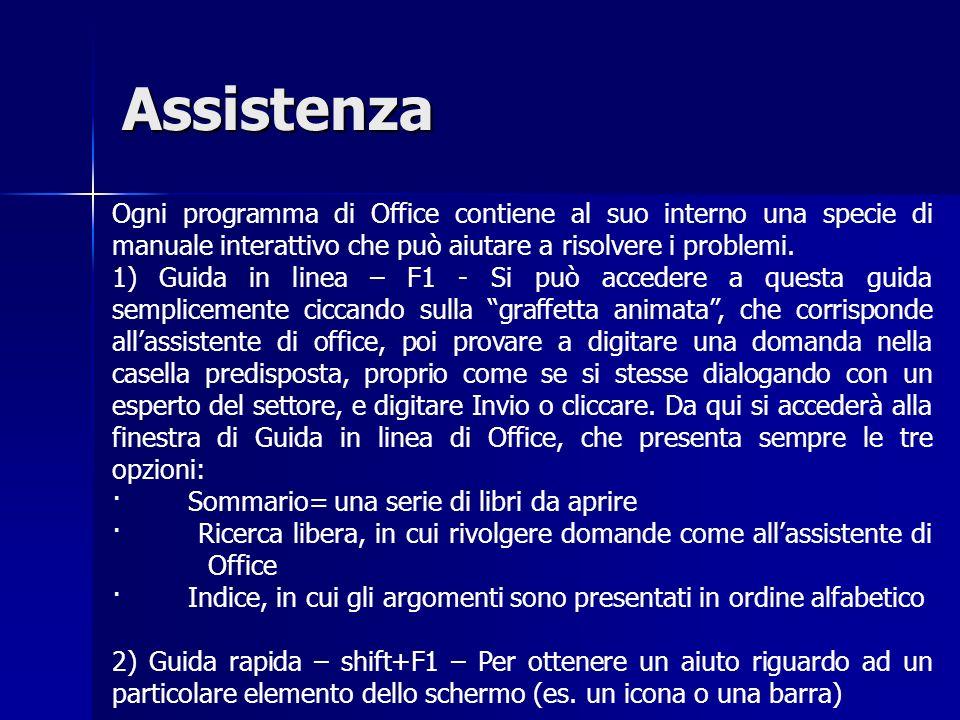 Assistenza Ogni programma di Office contiene al suo interno una specie di manuale interattivo che può aiutare a risolvere i problemi.