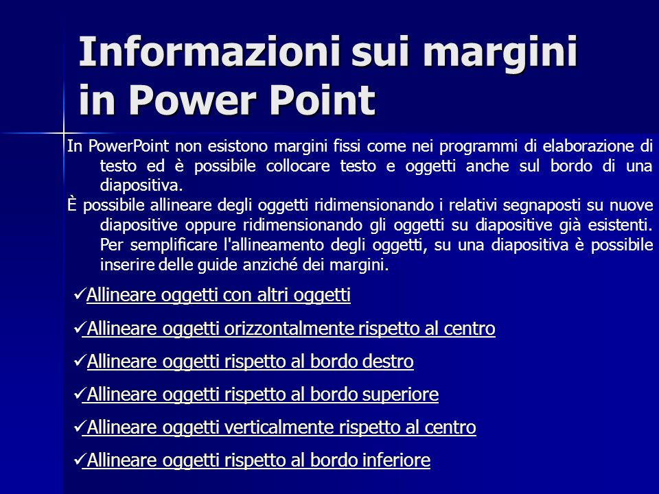 Informazioni sui margini in Power Point