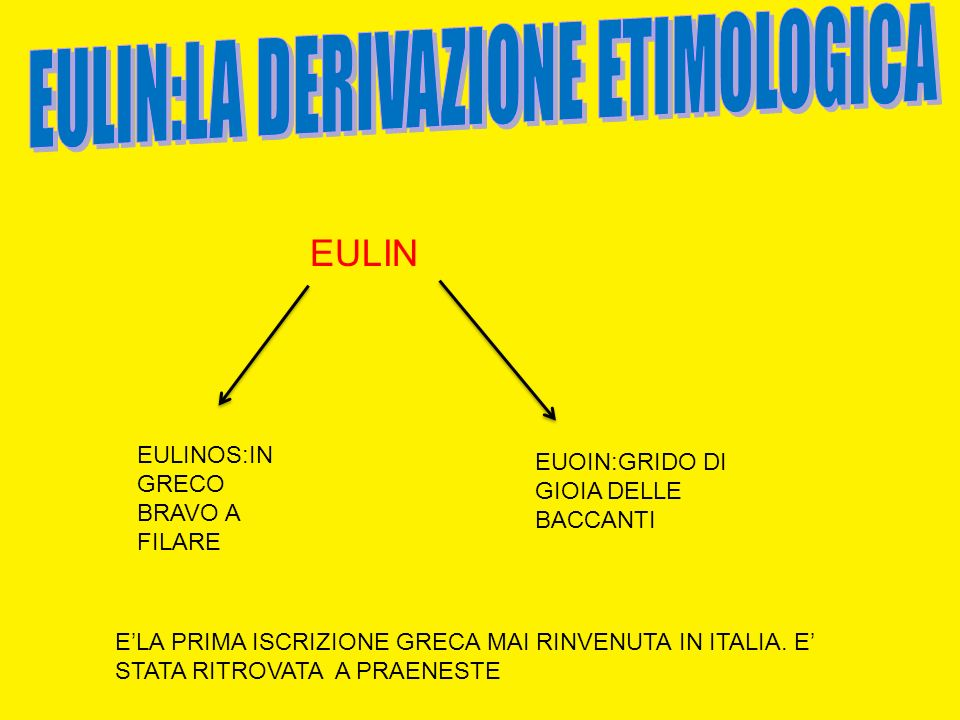 EULIN:LA DERIVAZIONE TEIMOLOGICA EULIN:LA DERIVAZIONE ETIMOLOGICA