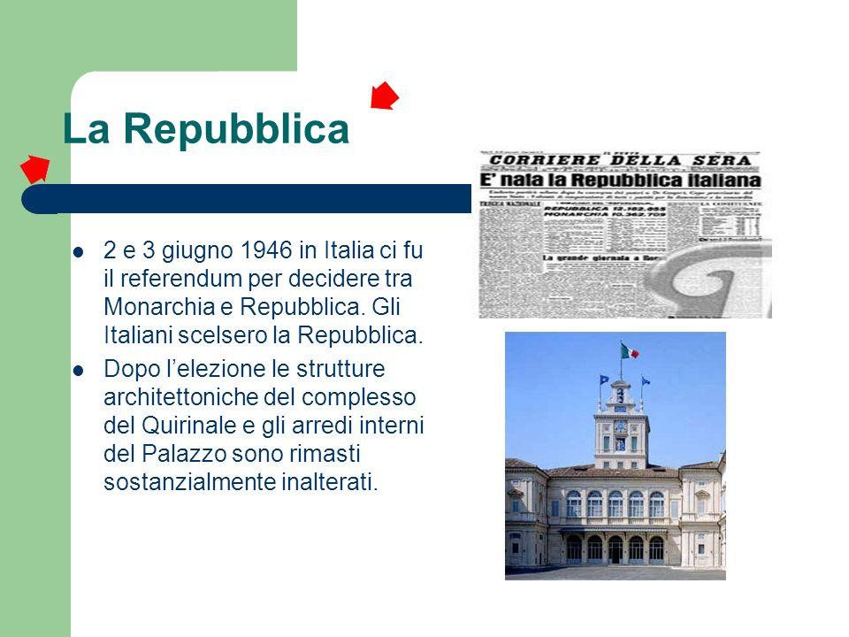 La Repubblica2 e 3 giugno 1946 in Italia ci fu il referendum per decidere tra Monarchia e Repubblica. Gli Italiani scelsero la Repubblica.
