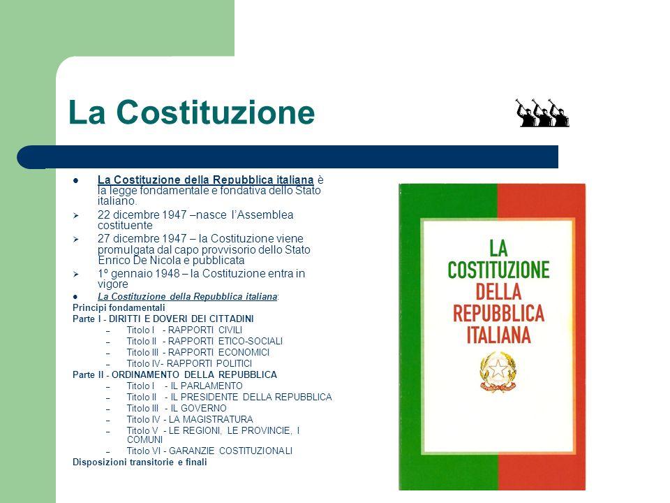 La Costituzione La Costituzione della Repubblica italiana è la legge fondamentale e fondativa dello Stato italiano.