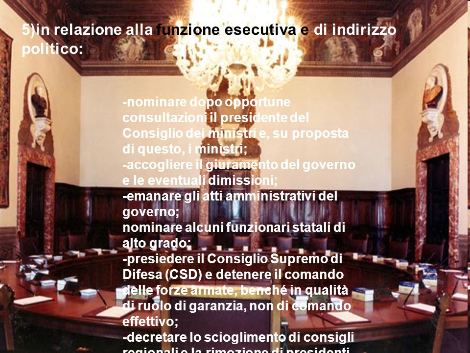 5)in relazione alla funzione esecutiva e di indirizzo politico: