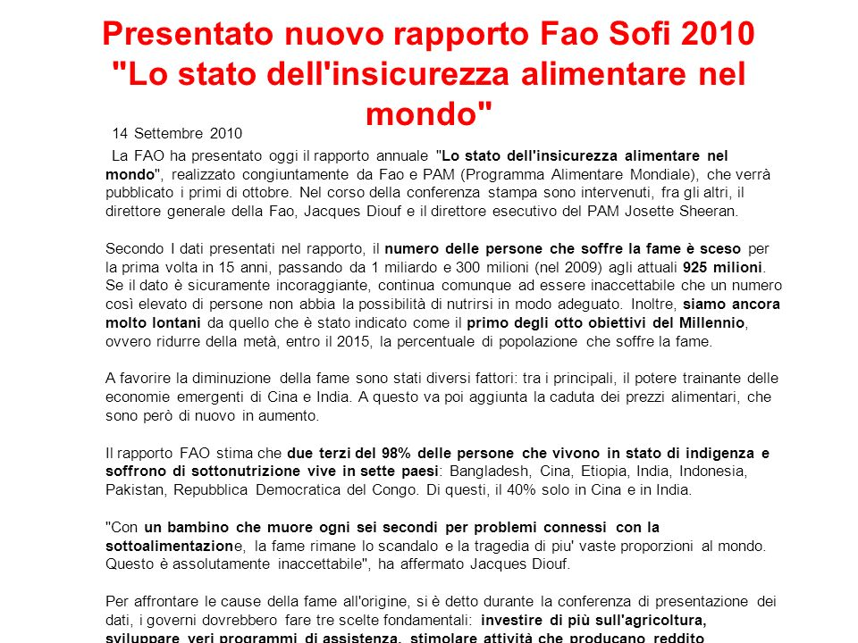 Presentato nuovo rapporto Fao Sofi 2010 Lo stato dell insicurezza alimentare nel mondo